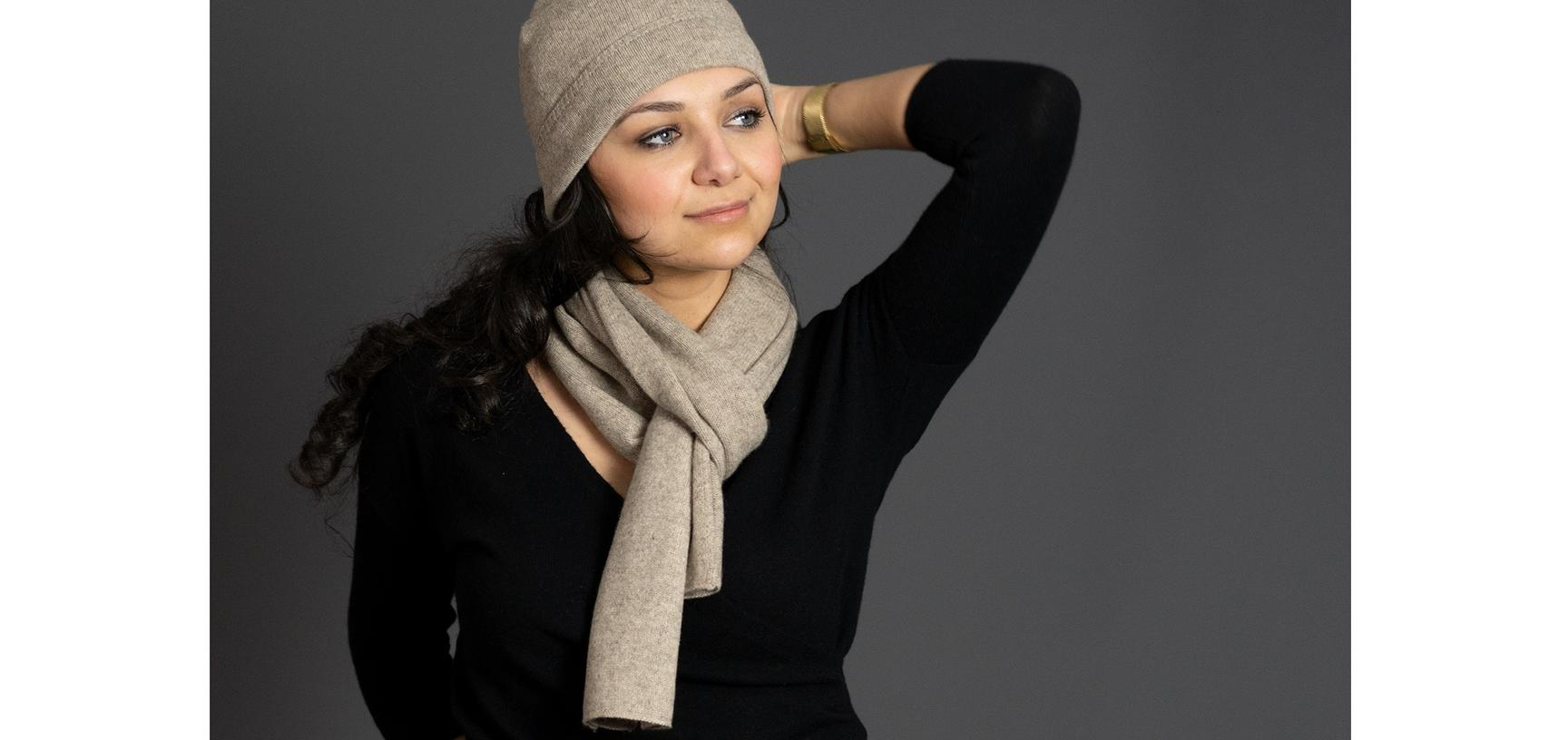 w morgane with scarf and hat